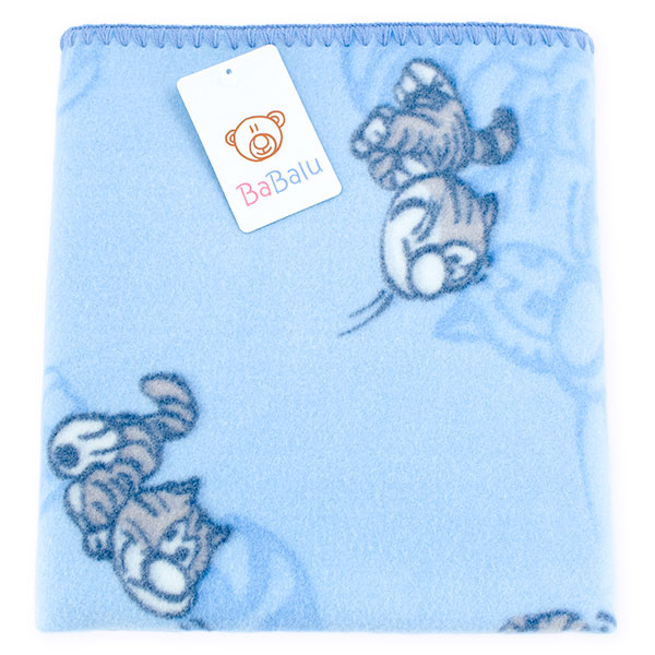 Baby fleece blanket 01 blue cat