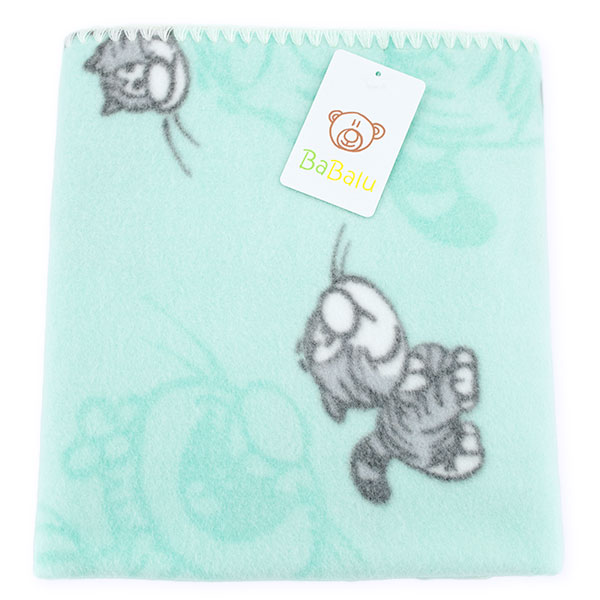 Baby fleece blanket 01 aquamarine cat