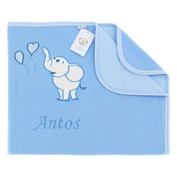 Big blanket with name Elephant with baloons blue