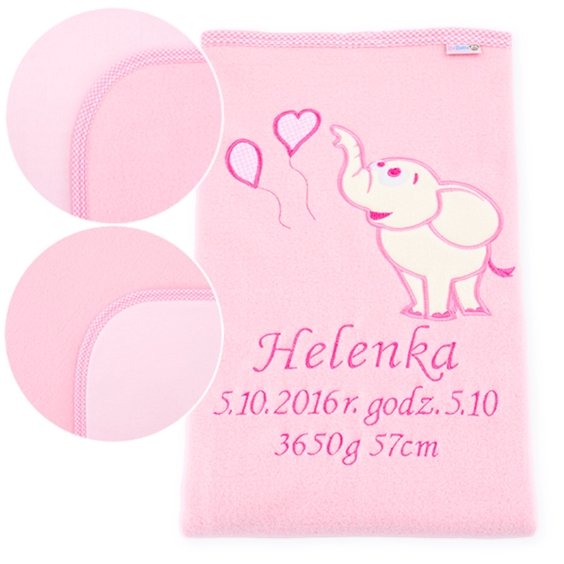 Big blanket with name Elephant with baloons pink