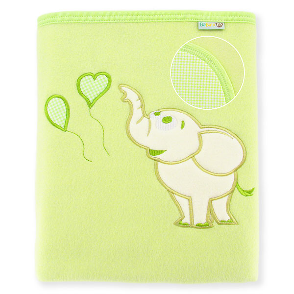 Big blanket with name Elephant with baloons green