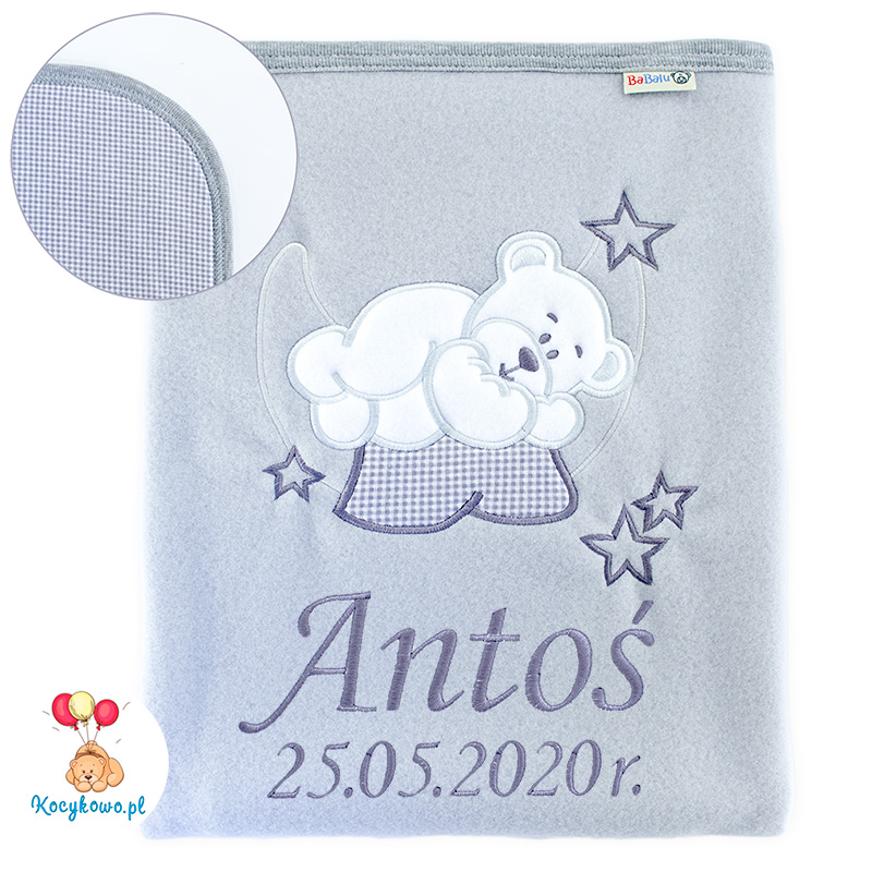 Big blanket with name teddy bear on the moon 052