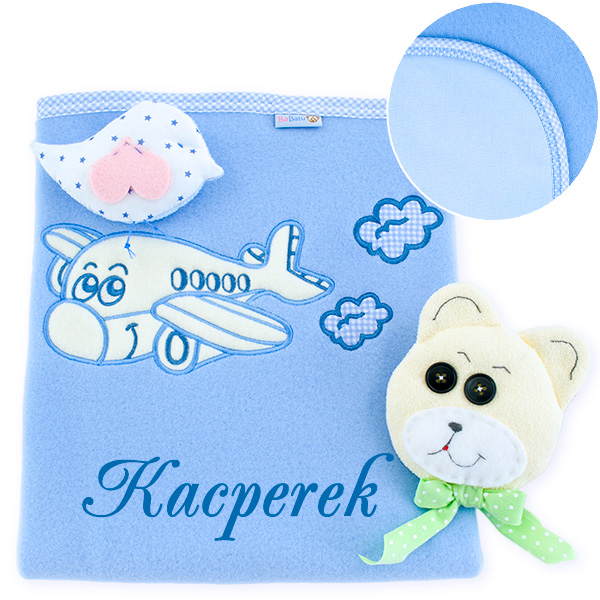 Big blanket with name Airplane with clouds blue