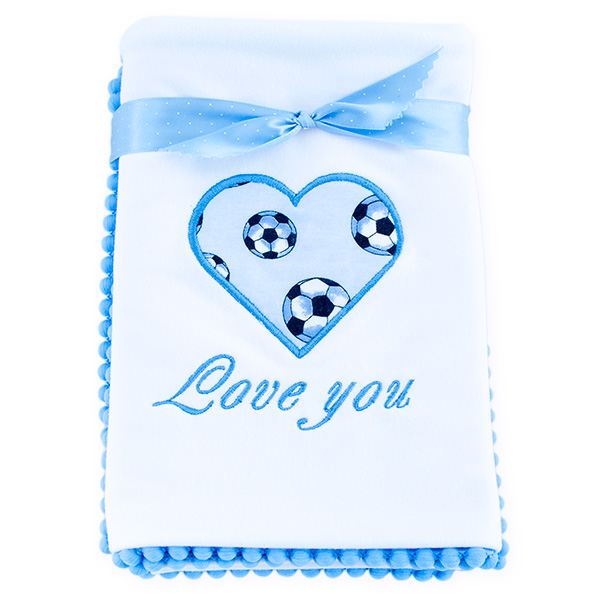 Cotton blanket Love you 071 footballs 80x80