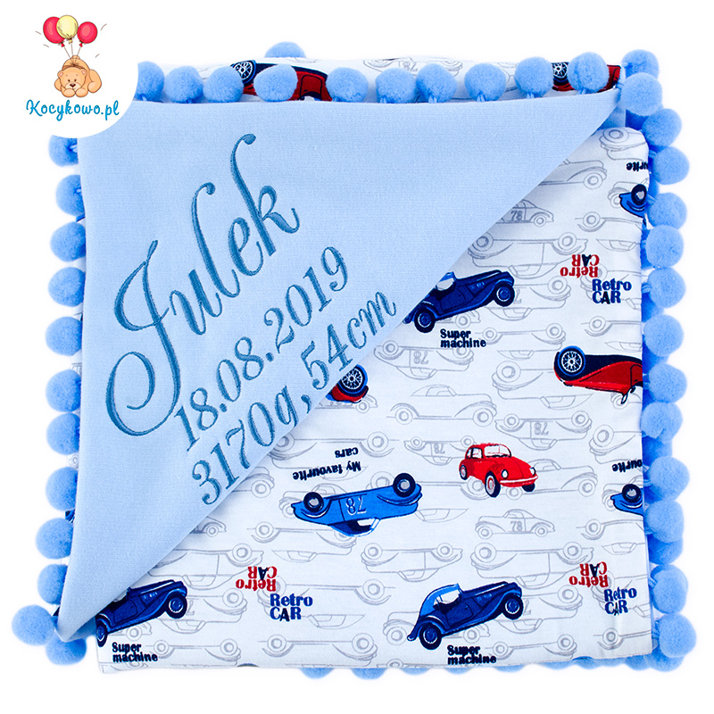 Cotton blanket with dedication Sophie 072 80x90 retro cars