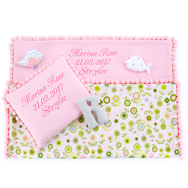 Cotton blanket with dedication Sophie 072 80x90 flowers