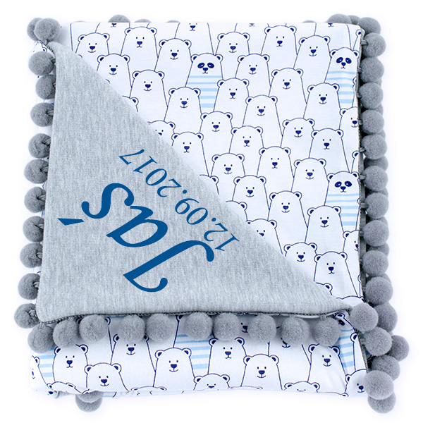 Cotton blanket with dedication Sophie 072 80x90 funny bear