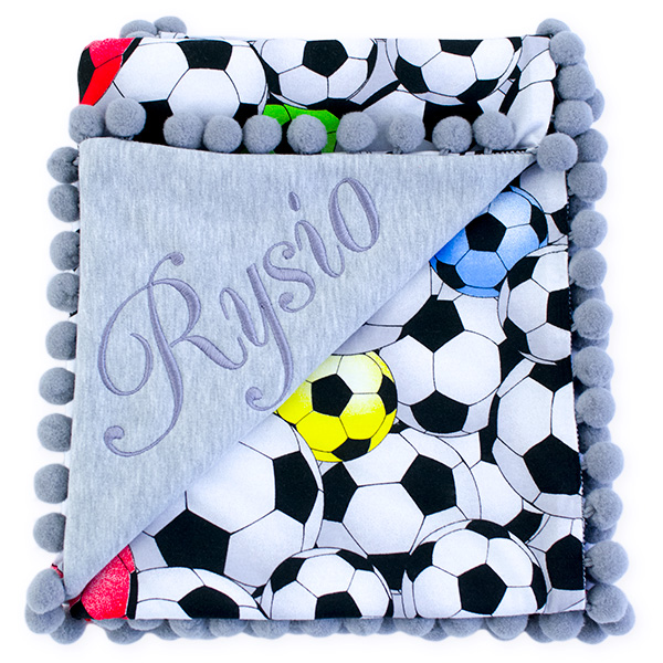 Cotton blanket with dedication Sophie 072 80x90 football