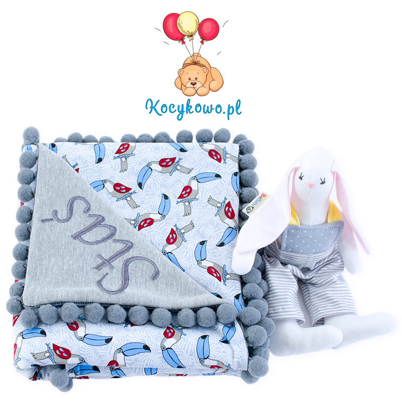 Cotton blanket with dedication Sophie 072 80x90 toucans