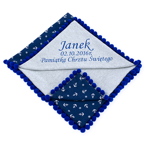 Cotton blanket with dedication Sophie 072 80x90 marine