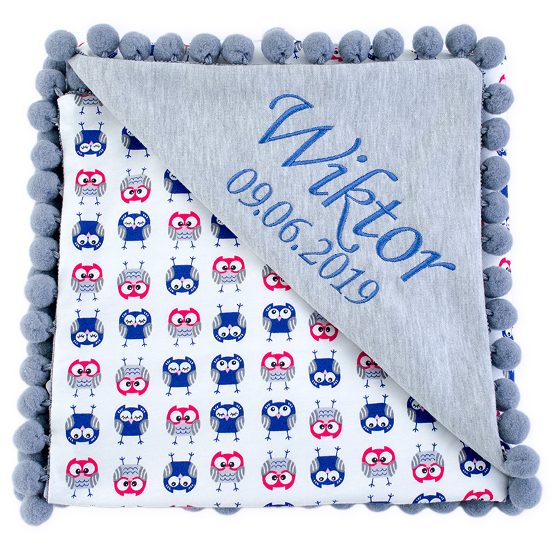 Cotton blanket with dedication Sophie 072 80x90 owls