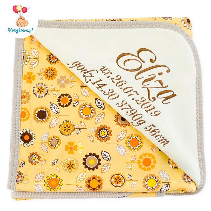 Cotton blanket with dedication Sophie 073 80x90 flowers