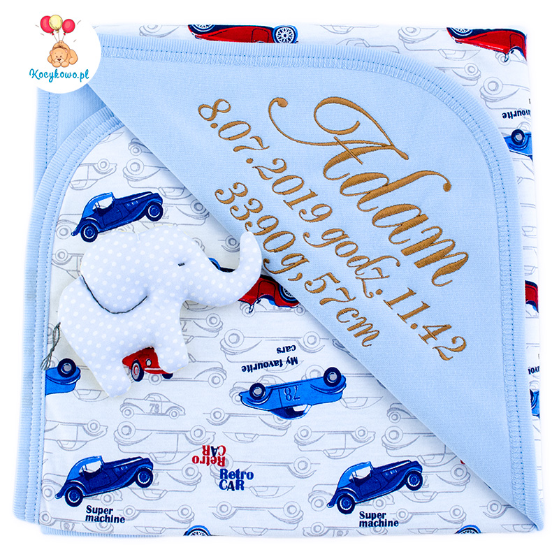 Cotton blanket with dedication Sophie 073 80x90 retro cars
