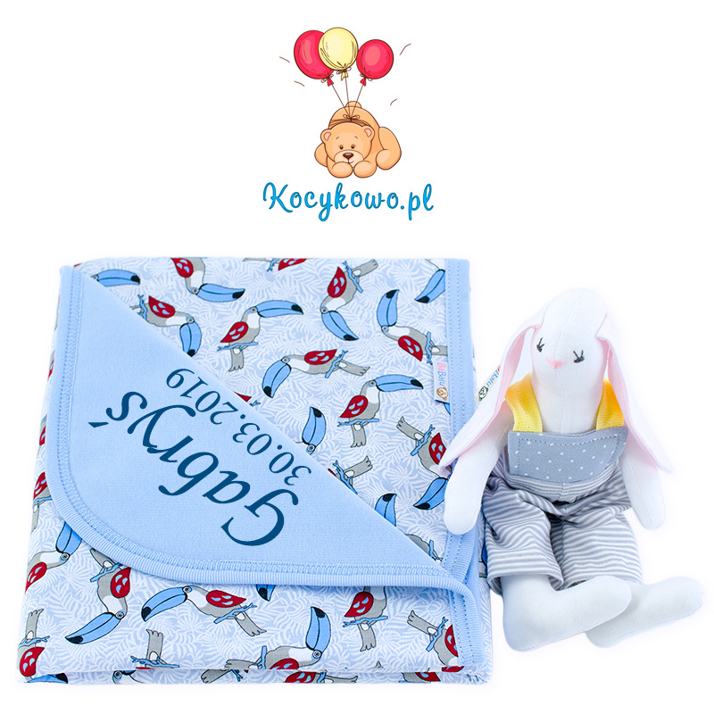 Cotton blanket with dedication Sophie 073 80x90 toucans