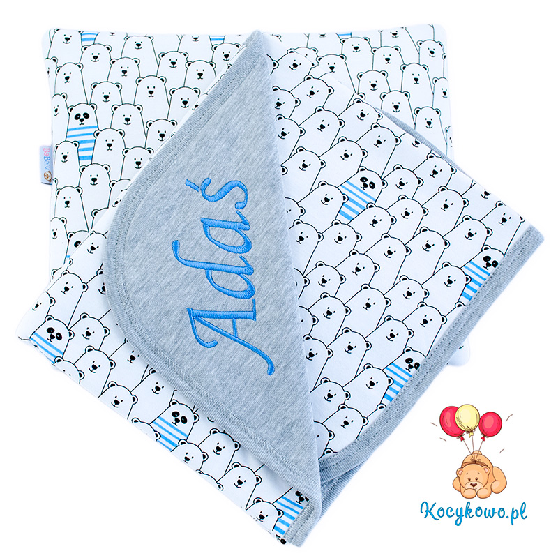Cotton blanket with dedication Sophie 073 80x90 funny bears