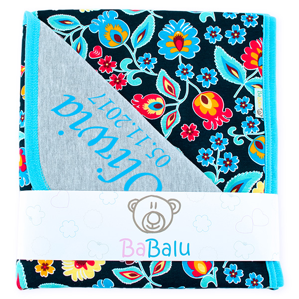 Cotton blanket with dedication Sophie 073 80x90 folk