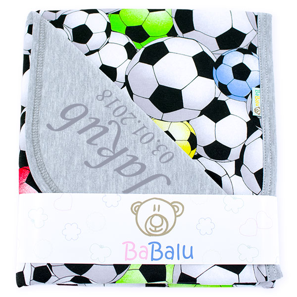 Cotton blanket with dedication Sophie 073 80x90 football