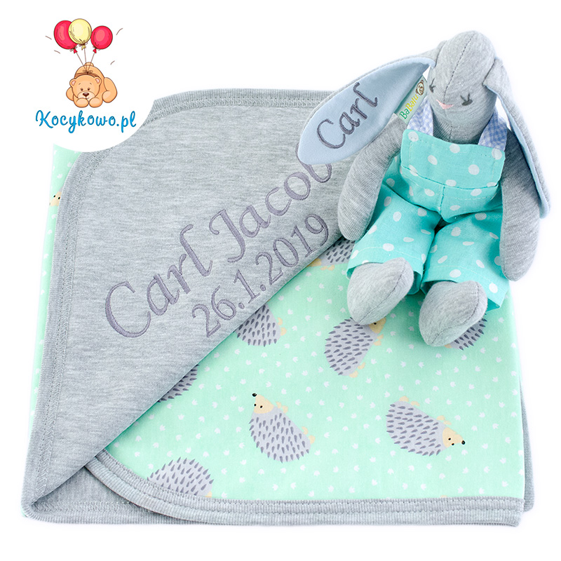 Cotton blanket with dedication Sophie 073 80x90 hedgehog