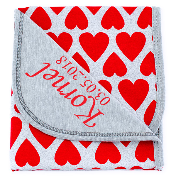 Cotton blanket with dedication Sophie 073 80x90 hearts