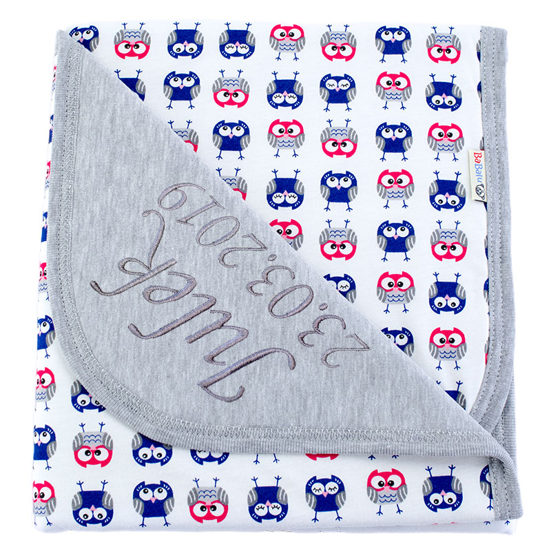 Cotton blanket with dedication Sophie 073 80x90 owls