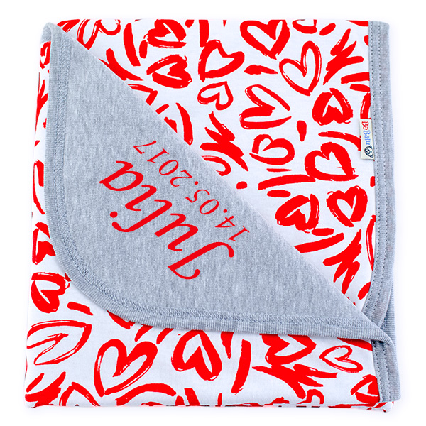 Cotton blanket with dedication Sophie 073 hearts