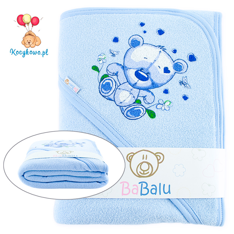Bath towel 038 with a dedication blue 100x100
