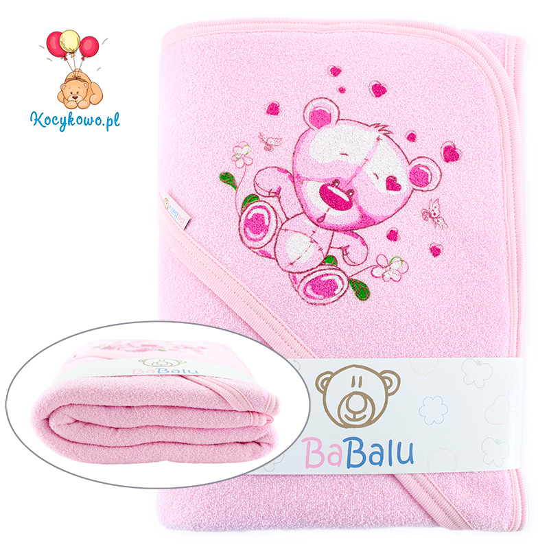 Bath towel 038 with a dedication pink 100x100