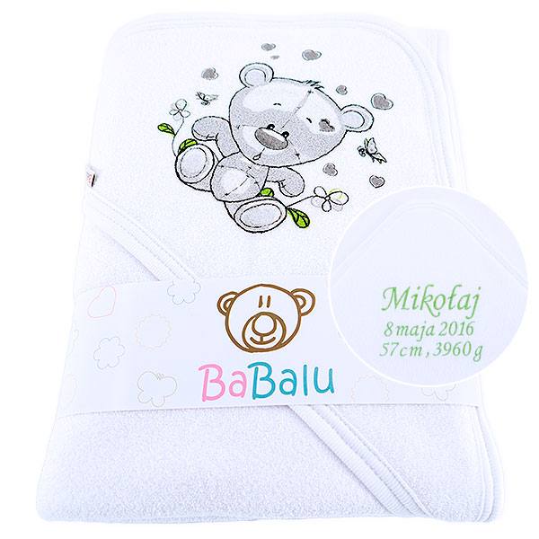 Bath towel 038 with a dedication white