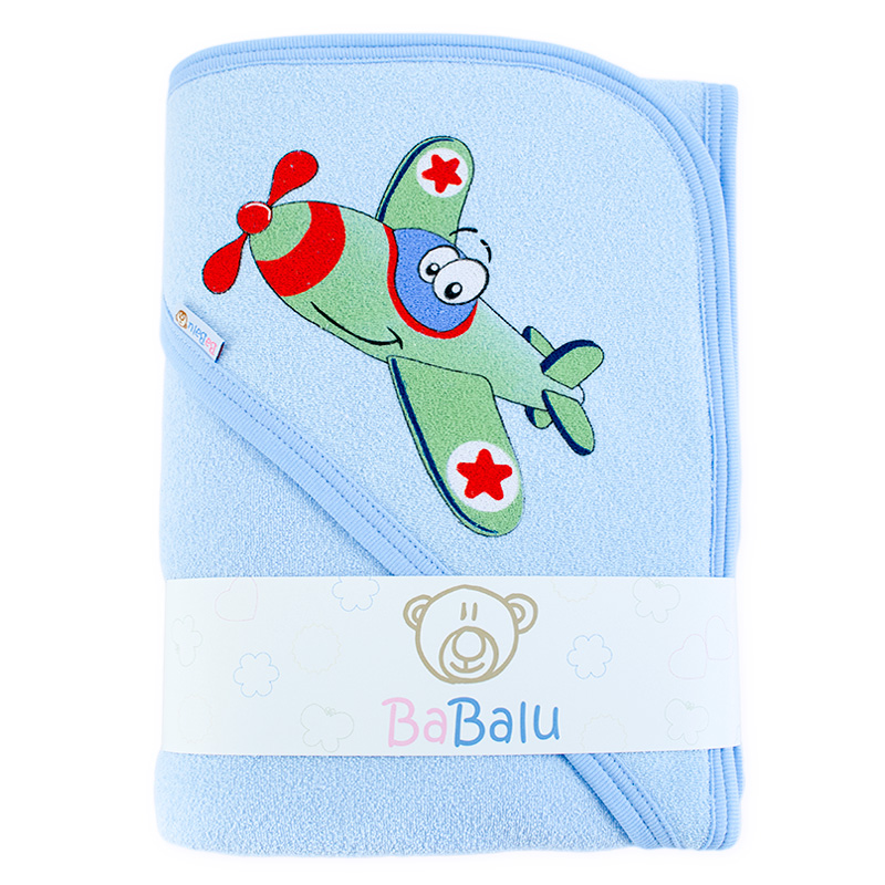 Thick bath towel 038 two layers blue plane