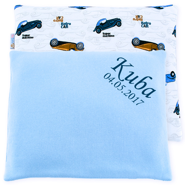 Cotton pillow with dedication 076 Sophie retro cars 28x34