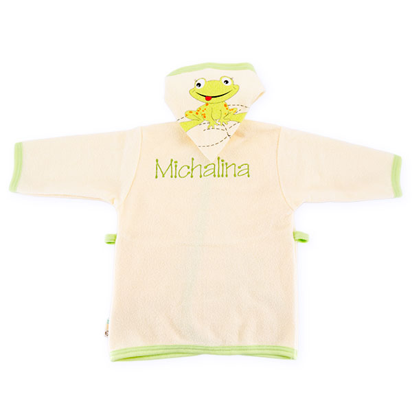 Bathrobe frog with dedication size 80cm ecru 041