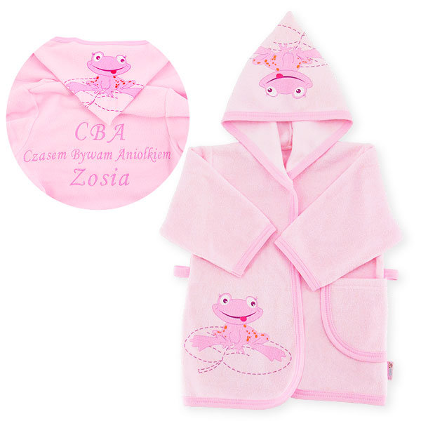 Bathrobe frog with dedication size 80cm pink 041