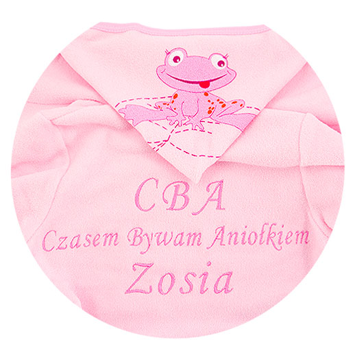 Bathrobe frog with dedication size pink