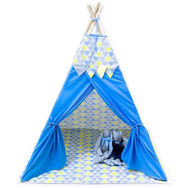 TIPI tent blue triangles