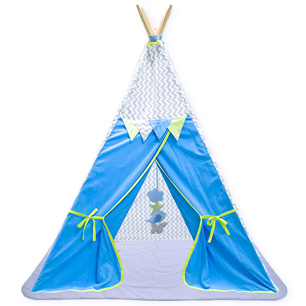 TIPI tent blue zigzag